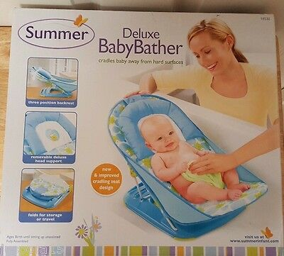 Summer NEW SEALED Blue Green White Black Deluxe Baby Bather Bath Tub