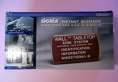 """NEW Davson Signia WALL or TABLETOP Instant Signage-Black # 5641-7"""" high x 12.5 W"""