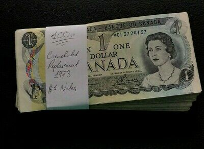 1973 BUNDLE OF 100x BANK OF CANADA * REPLACEMENT BANKNOTES IN MIXED GRADES! #309
