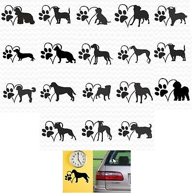 Dog Heart Paw vinyl sticker decal pet love for wall car kennel various breeds