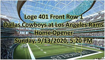 1-8 Tickets Rams vs Dallas Cowboys  2020 SOFI Stadium New LA Stadium Front Row