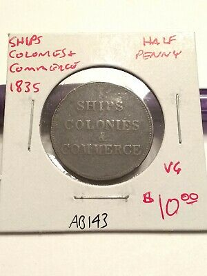 1835 Ships, Colonies & Commerce Half Penny  Very Good+ #AB143