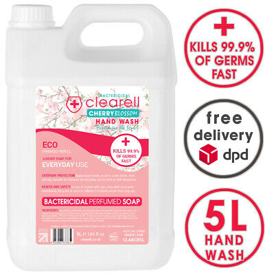 Clearell 5 Litres CHERRY Blossom Antibacterial Sanitiser Hand Wash Liquid Soap