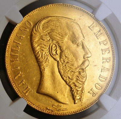 1866, Mexico (Empire), Maximilian I. Gold 20 Pesos Coin. 8,274 Struck! NGC UNC+