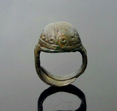 Large Scarce Decorated Baltic Viking Bronze Rattle Finger Ring (N224)