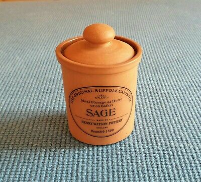 """Henry Watson Pottery """"The Original Suffolk Canister"""" *Sage* #Excellent Unused#"""