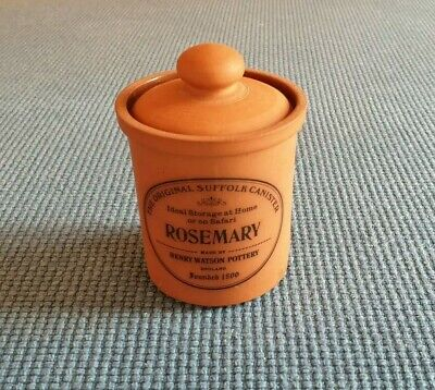 """Henry Watson Pottery """"The Original Suffolk Canister"""" *Rosemary* #V. Good Unused#"""