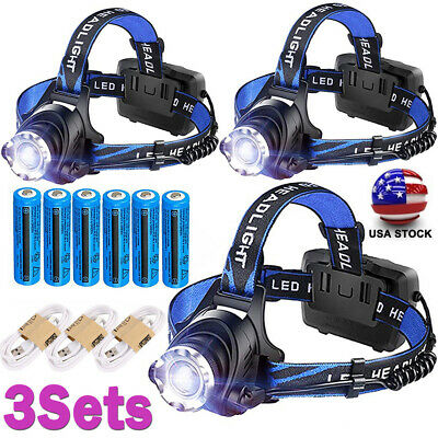 350000LM Rechargeable Headlight LED Headlamp Tactical Head Torch Lamp Lights Lot