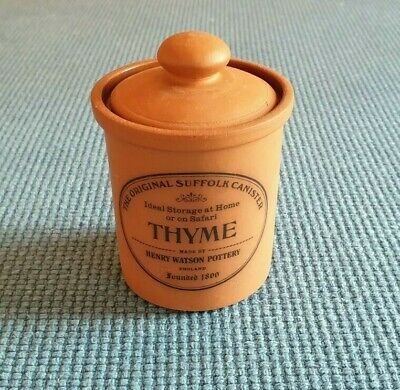 """Henry Watson Pottery """"The Original Suffolk Canister"""" *Thyme* #V. Good Unused#"""
