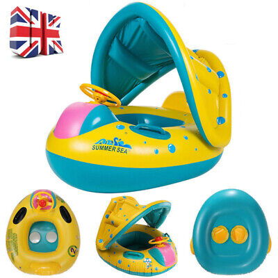 Baby Swimming Float with Detachable Canopy Infant Pool Inflatable Boat Seat Toy