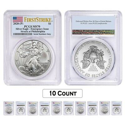 Lot of 10 - 2020 (P) 1 oz Silver American Eagle PCGS MS 70 FS Emergency Issue