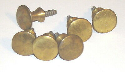6 Vintage Solid Brass Small Stacking Barrister Bookcase Knobs About 9/16 in.