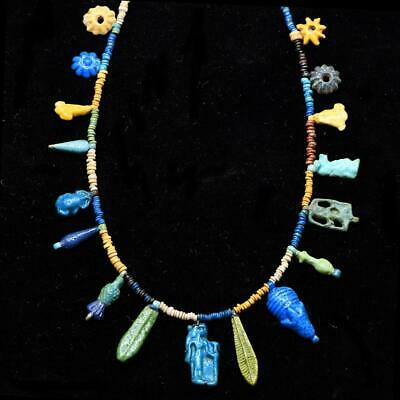 * An Exhibited Egyptian Bead and Amulet Faience Necklace, Amarna Period, ca. 135