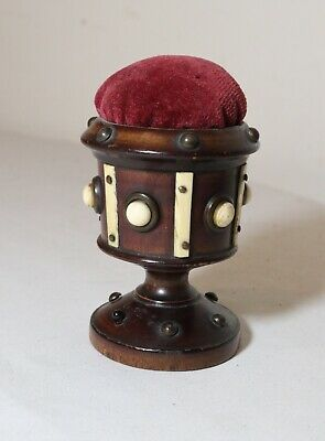 quality antique 19th century Victorian hand carved wooden sewing pin cushion