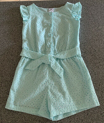 Girls size 3  Green lined playsuit  jumpsuit jump play suit BRODERIE Target NEW