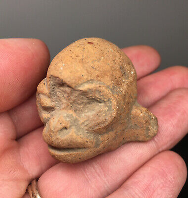 Pre-Columbian Monkey Head Pottery Ritual Fragment Ancient Terracotta Artifact