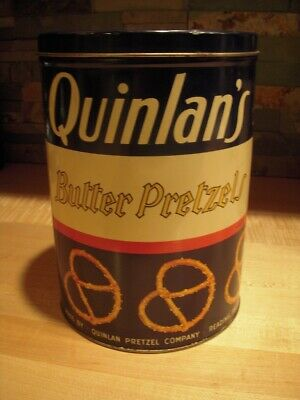 Early Quinlan's Butter Pretzels Tin Reading PA 12 Ounce