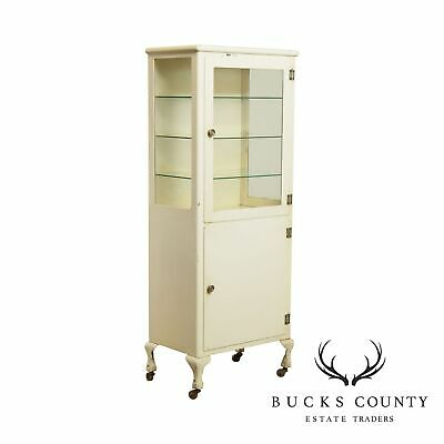 Antique White Painted Steel One Door Medical or Dental Cabinet