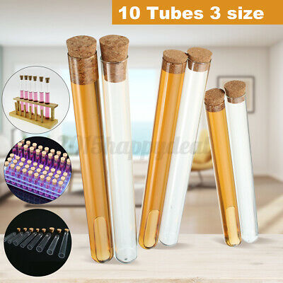 10PCS Test Tubes Heat Proof Pyrex Glass with cork stoppers Caps Lids & Labels