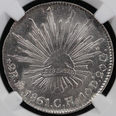 1861 2r MO CH Mexico 2 Reales NGC MS 64