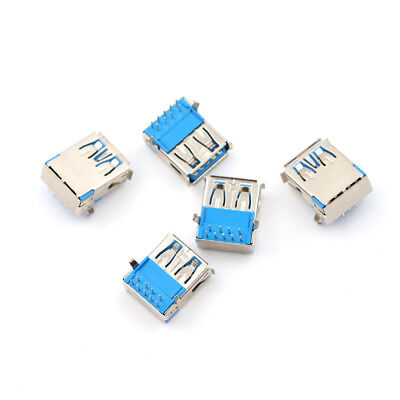 5Pcs USB 3.0 Type A Female Right Angle 9Pin DIP Socket PCB Solder Connector ODZ2