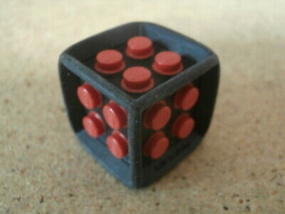Lego 2x Black Die 6 Sided Rubber Frame with Red Center w// Studs NEW