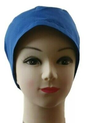 Pack of 10 Surgical scrub hat Hospital BLUE poly/cotton