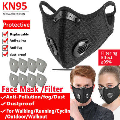 Anti-pollution Cycling Face Cover Activated Carbon Filters Reusable Mouth Shield