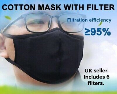 PPE  Face Cover with 6 Replaceable Filters, Reusable & Washable.  UK Seller.