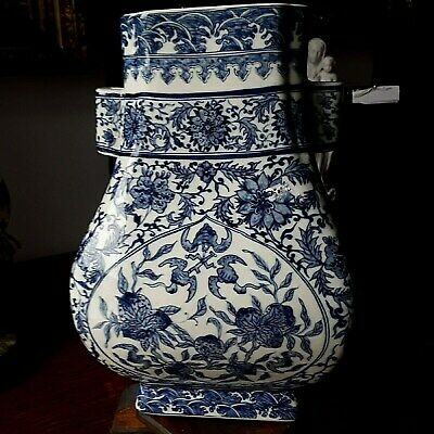 Chinese Qing Dynasty Antique Blue And White Porcelain Flowers and Foliage Vase
