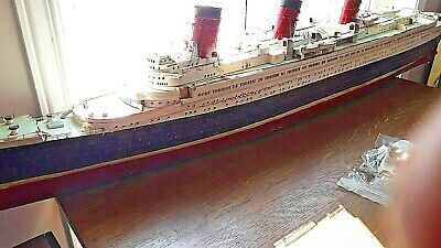 Antique 1920s Model Ship Three Stack Ocean Liner With Lighting