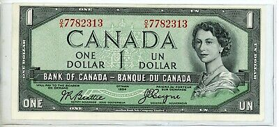 """Canada $1 Dollar Currency Banknote """"Devil's Head"""" 1954 #2"""