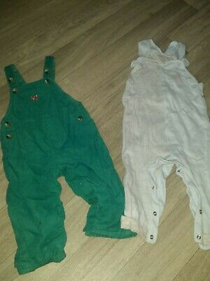 Boys Bundle 2x dungarees 6-9m And 9-12 Mothercare&john Lewis