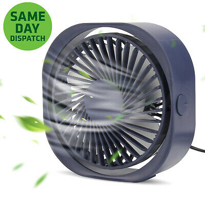 360° Portable Mini USB Desk Fan 3 Speed Adjustable Home Table Fans Silent Ideal