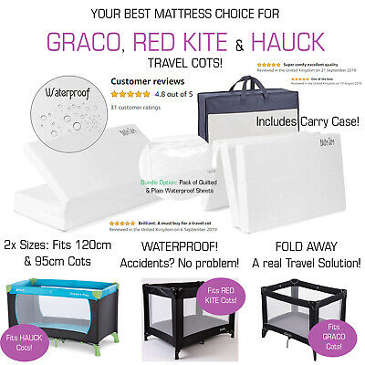 GRACO HAUCK RED KITE 120/95cm WATERPROOF Folding Travel Cot Thick Baby Mattress