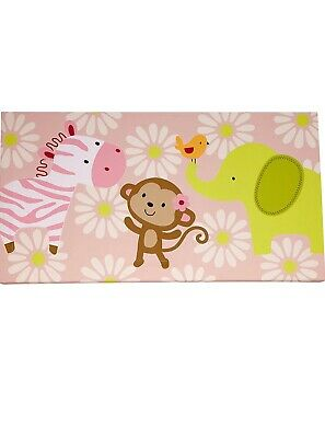 Carter's Jungle Collection Canvas Wall Art Pink 24 X 12 Inch