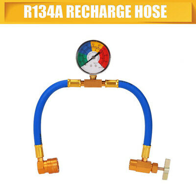 NEW 1/2 Thread Car Air Conditioning Refrigerant Recharge Kit R134A Hose Gauge UK