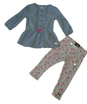 LEE Girls Outfit Set of 2 - Blue Tunic Top & Grey Leggings 2 years