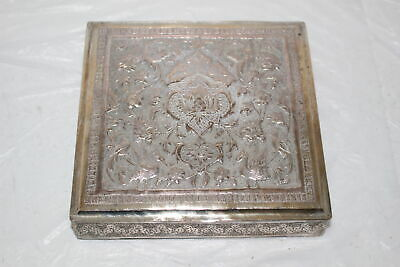 Antique Ornate Silver Or White Metal Brass Middle Eastern Persian Cigar Box