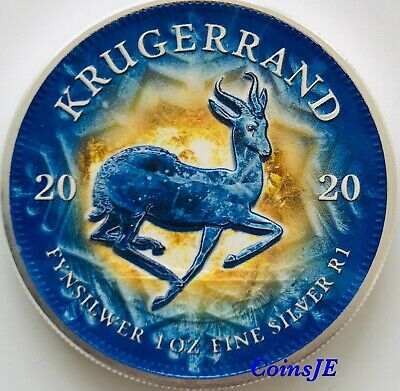 2020 1 oz .999 South African Krugerrand  Colorised Silver Coin Box & Coa