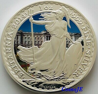 2014 £2 UK Britannia 1 Oz .999 Buckingham Palace Colorised Silver Coin