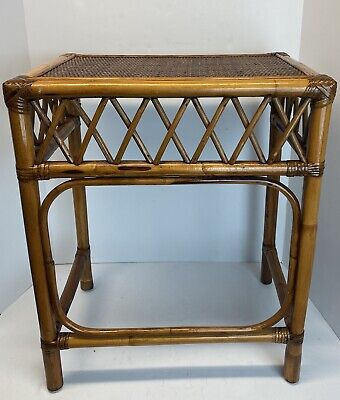 Vintage Rattan Bamboo Cane Side End Table Accent Tray Table