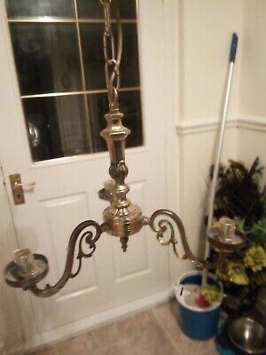 Vintage Brass 3 Arm Ornate Chandelier French