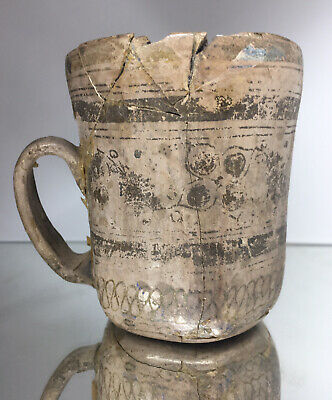 EXQUISITE Ancient Greek Southern Italy Black-on-Gray Pottery Mug Terracotta