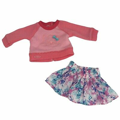 American Girl Doll Kitten Sweater and Skirt Outfit Set 2 Piece Cat Kitty Floral