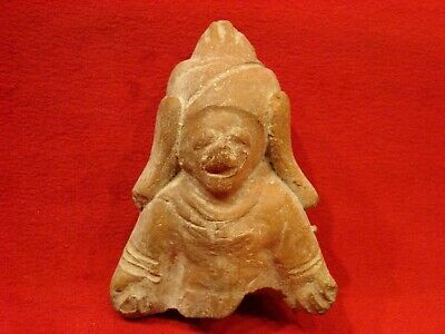 Pre Columbian Male Figurine. Jama Coaque Culture Authentic 500 Bc- 500 A D