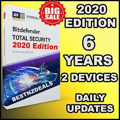Bitdefender Total Security 2020 - 6 Years For 2  Devices - Download