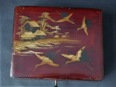 Antique Japanese Lacquered Box With Key, Working Lock, Lakeside Stork Decoration