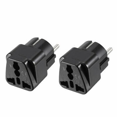 EU Enchufe A Hembra AU US UK EU AC Adaptador Corriente Viaje Conversor 2Pc