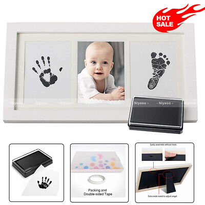 Baby Hand & Foot Print Clay Cast Kit & 1 Photo Picture Frame Christening Gift